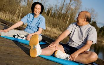 elderly people stretching
